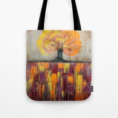 Tree in Autumn Landscape - Abstract Landscape Painting Tote Bag
