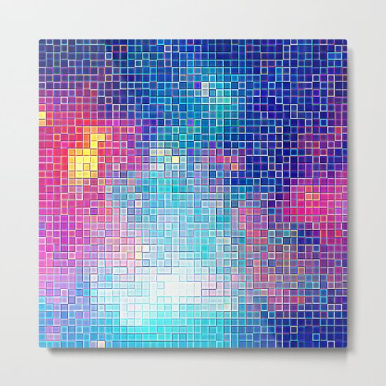 Colorful Abstract Pixels Metal Print