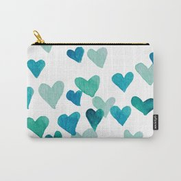 Valentine's Day Watercolor Hearts - turquoise Carry-All Pouch