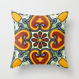 Talavera Mexican tile inspired bold design in green, gold, red and blue Throw Pillow
