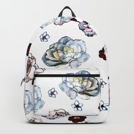 Flowers on White Backpack