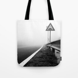 Attention to guardrail Tote Bag