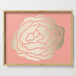 Rose White Gold Sands on Salmon Pink Serving Tray