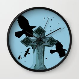 Gothic Cross Headstone With Crows and Ravens Wall Clock