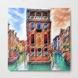 Canals of Venice, Italy Watercolor by Jéanpaul Ferro Metal Print