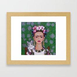 Frida cat lover closer Framed Art Print
