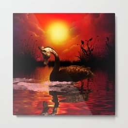Wonderful swangiraffe in the sunset Metal Print
