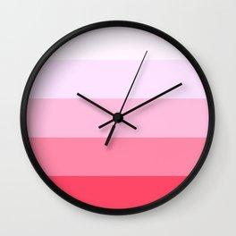Pastel Pink Stripes. Wall Clock