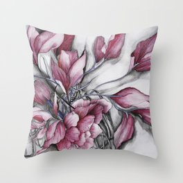 """Dancing"" in red, abstract floral ink watercolor drawing Throw Pillow"