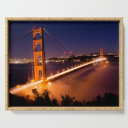 Golden Gate at Night Serving Tray