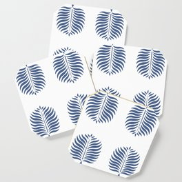 TROPICAL PALMS . WHITE + BLUE Coaster