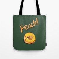 peach Tote Bags featuring Peach by Ken Coleman