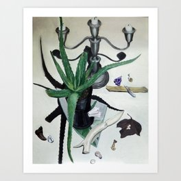 Vanitas still life with aloe plant, crystals and bone knife. Art Print