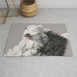 Old English Sheepdog On the Move Rug