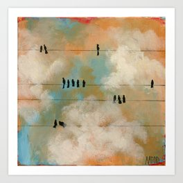 Birds on a Wire (color) Art Print