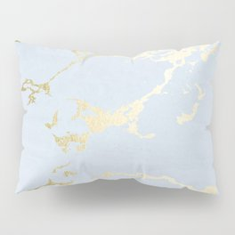 Kintsugi Ceramic Gold on Sky Blue Pillow Sham