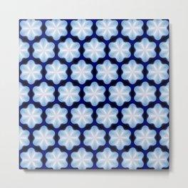 Petite Flowers Blue Metal Print