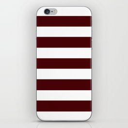 Dark chocolate - solid color - white stripes pattern iPhone Skin