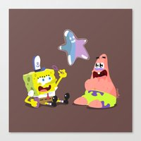 spongebob Canvas Prints featuring Spongebob & Patrick by solostudio