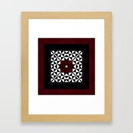 Ruby Red Marble w/ Blk & White Geometrica Pattern Insert Framed Art Print