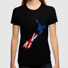 New Zealand Map with Kiwi Flag T-shirt