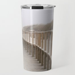 Beach Walkway in foggy morning Travel Mug