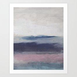 Plum Purple Navy Lavender Blue Abstract Painting Wall Art Prints, Ocean Waves Horizon, Modern Wall Art Print