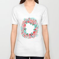 waldo V-neck T-shirts featuring The Earth Laughs in Flowers – Pink & Charcoal by Cat Coquillette