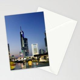 Kuwait City Skyline blur Stationery Cards