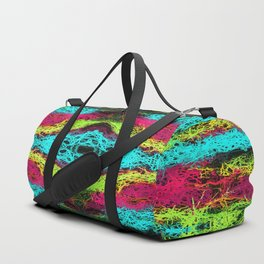 psychedelic graffiti geometric drawing abstract in blue pink yellow Duffle Bag