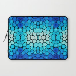 Winter Lights - Blue and White Abstract Mosaic Art By Sharon Cummings Laptop Sleeve