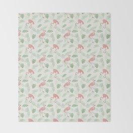 Flamingo Love Tropical Throw Blanket
