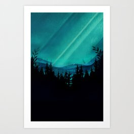 Magic in the Woods - Turquoise Art Print