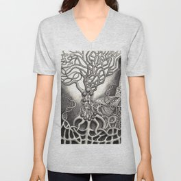 BioTechnological DNA Tree and Abstract Cityscape Unisex V-Neck
