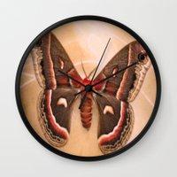 moth Wall Clocks featuring Moth by KunstFabrik_StaticMovement Manu Jobst