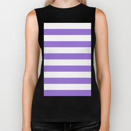 Horizontal Stripes - White and Dark Pastel Purple Biker Tank