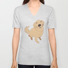 Golden Retriever Love Dog Illustrated Print Unisex V-Neck