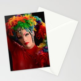 Drag Queen in Rainbow Headdress Stationery Cards