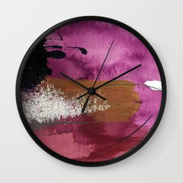 Comfort: a pretty abstract mixed media piece in gray, purple, red, black, and white Wall Clock