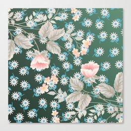Green Flowers Pattern Canvas Print