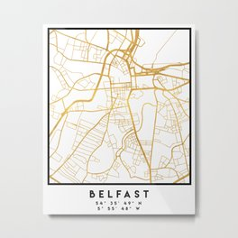 BELFAST UNITED KINGDOM CITY STREET MAP ART Metal Print