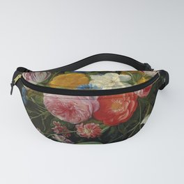 """Jan van Kessel de Oude """"Tulips, peonies, chicory, carnations, cherry blossom and other flowers"""" Fanny Pack"""
