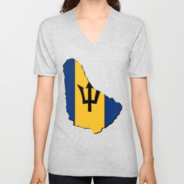 Barbados Map with Barbadian Flag Unisex V-Neck