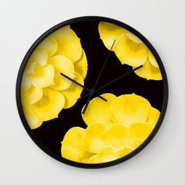 Large Yellow Succulent On Black Background #decor #society6 #buyart Wall Clock