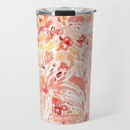 LILY LUST Peach Painterly Floral Travel Mug