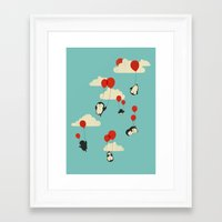 penguins Framed Art Prints featuring We Can Fly! by Jay Fleck