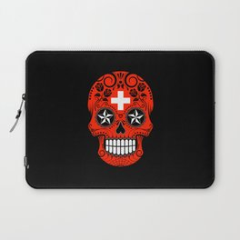 Sugar Skull with Roses and Flag of Switzerland Laptop Sleeve