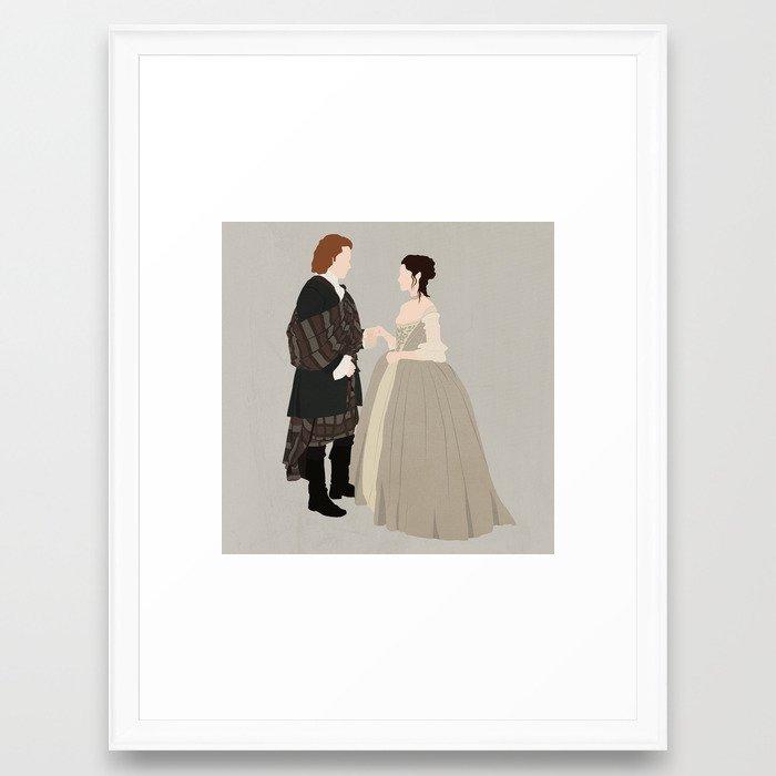 Outlander, Jamie and Claire Framed Art Print by carolam | Society6