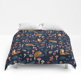 Fox and Hedgehog in Toadstool Woods In Blue Comforters