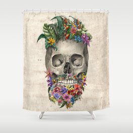 floral beard skull Shower Curtain